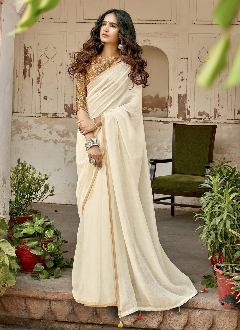 Off White Cotton Plain Classic Designer Saree