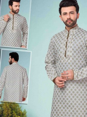 Off White Cotton Silk Embroidered Kurta Pyjama