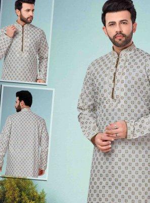 Off White Cotton Silk Embroidered Kurta Pyjama