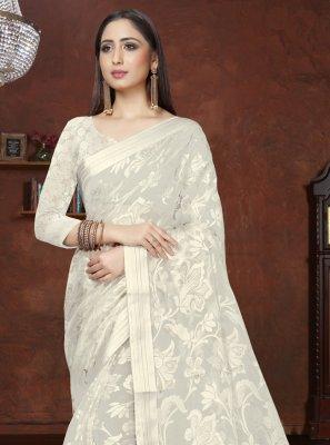 Off White Designer Saree