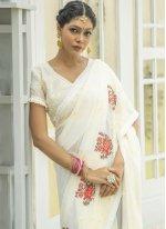 Off White Designer Traditional Saree