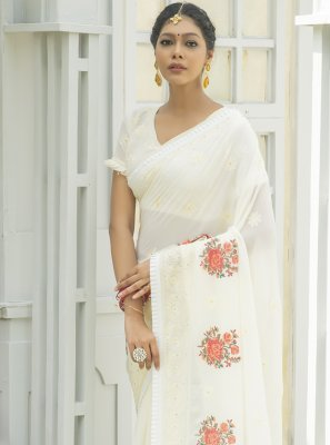 Off White Designer Traditional Saree