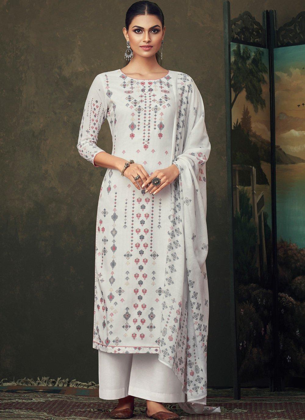 Off White Digital Print Cotton Salwar Kameez
