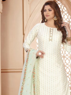 Off White Embroidered Art Silk Readymade Suit