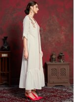 Off White Embroidered Cotton Party Wear Kurti