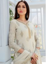 Off White Embroidered Designer Palazzo Suit