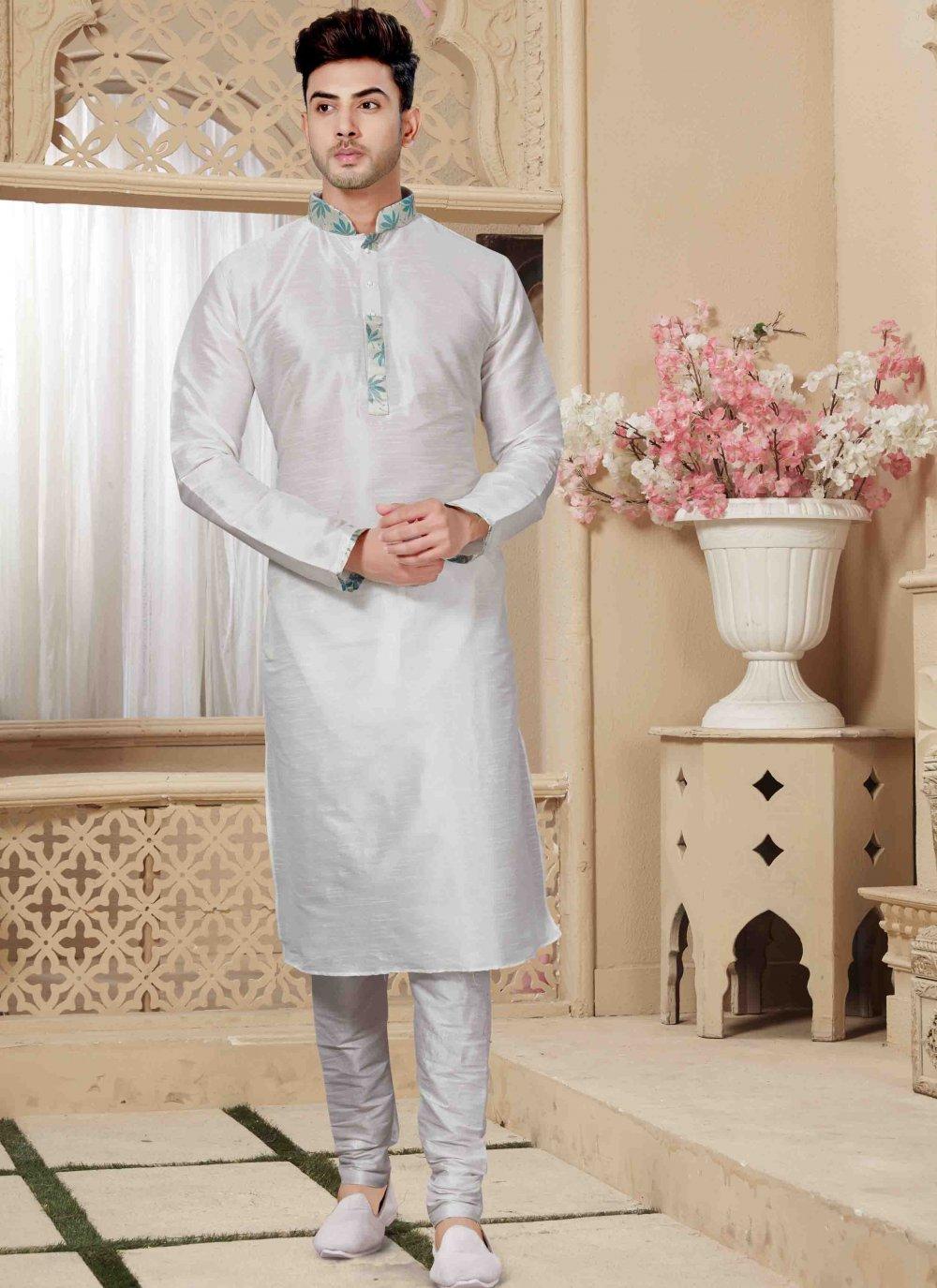 Off White Embroidered Engagement Kurta Pyjama