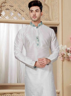 Off White Embroidered Engagement Kurta Pyjama