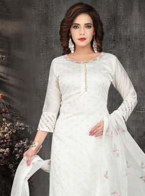 Off White Embroidered Festival Anarkali Suit