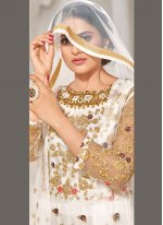 Off White Embroidered Floor Length Anarkali Suit