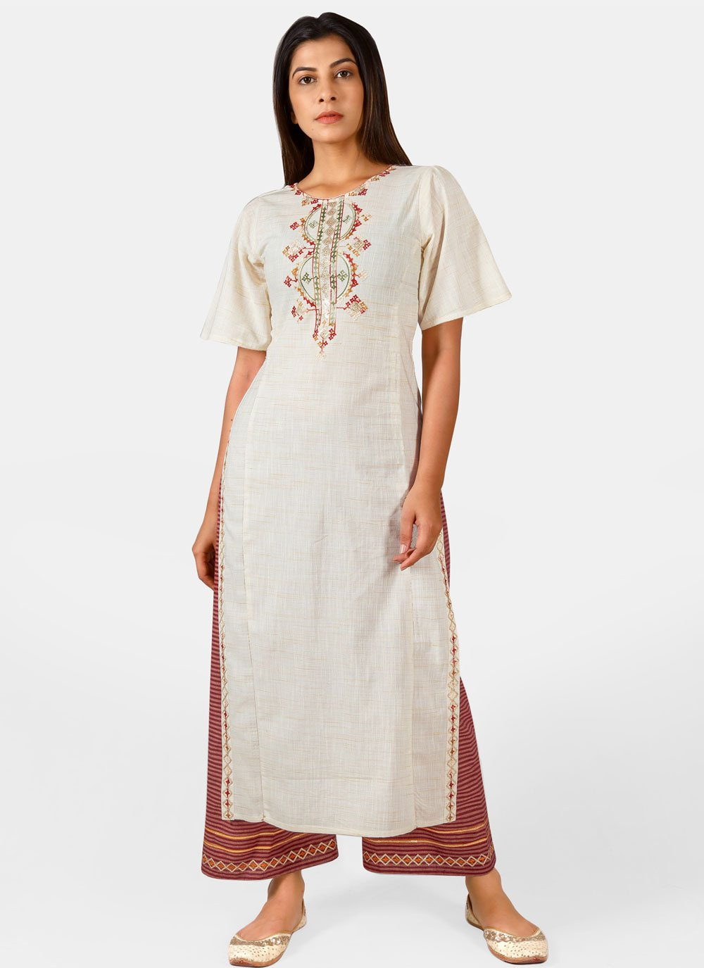 Off White Embroidered Khadi Party Wear Kurti