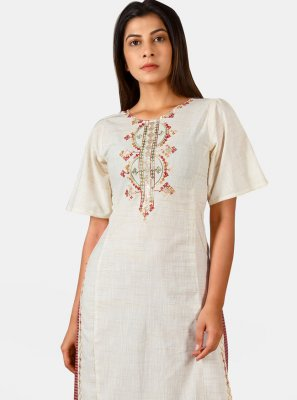Off White Embroidered Khadi Party Wear Kurti
