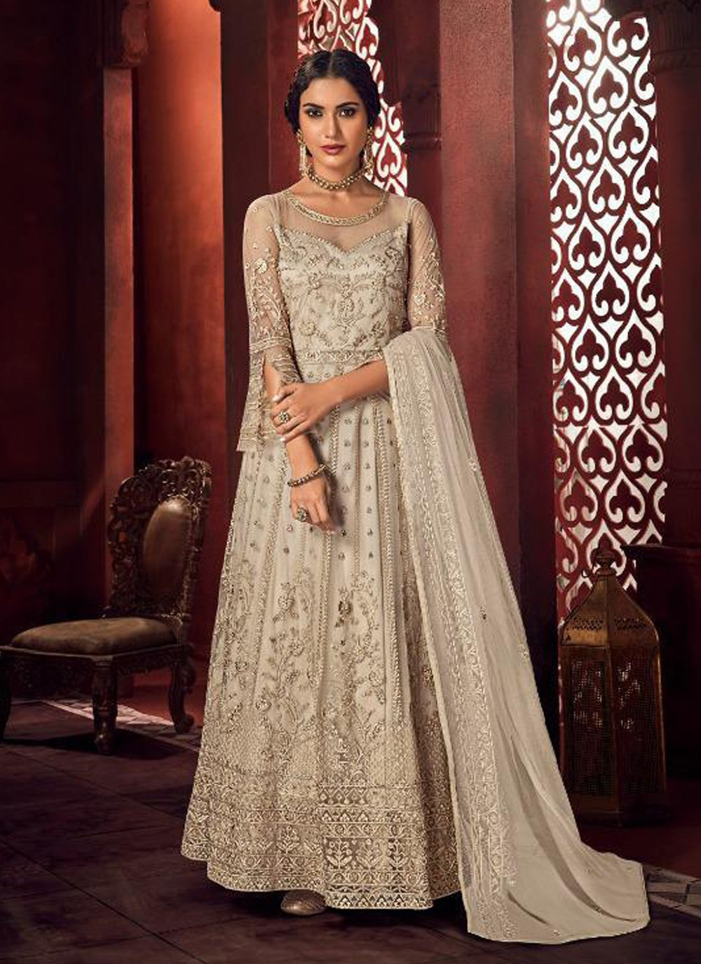 Off White Embroidered Net Floor Length Anarkali Suit