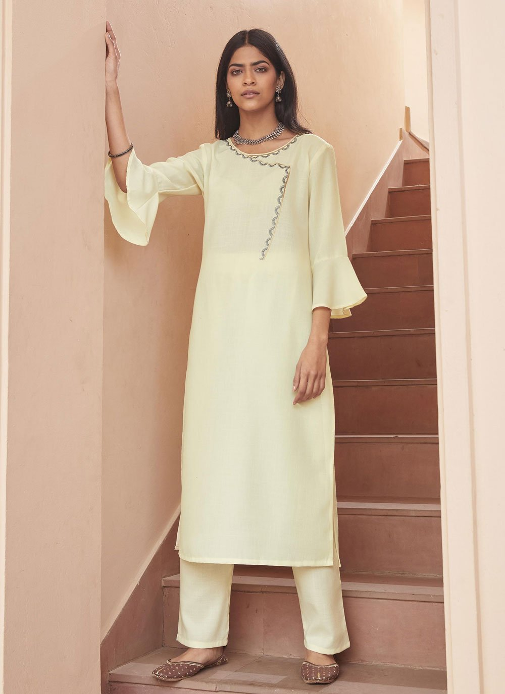 Off White Embroidered Party Wear Kurti