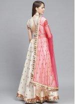 Off White Embroidered Satin Designer Lehenga Choli
