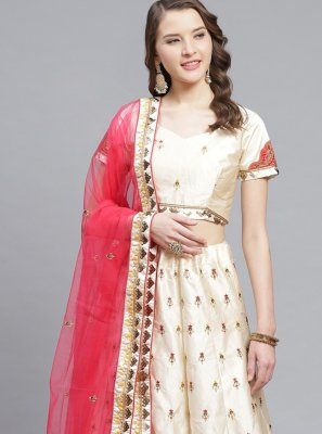 Off White Embroidered Satin Designer Lehenga Choli