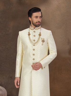 Off White Embroidered Sherwani