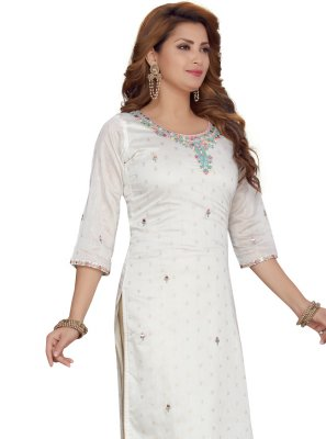 Off White Fancy Festival Party Wear Kurti