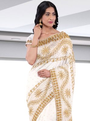 Off White Faux Georgette Engagement Designer Saree