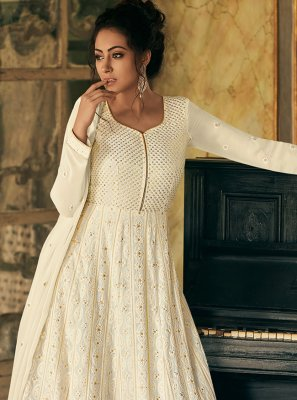Off White Faux Georgette Fancy Floor Length Anarkali Suit