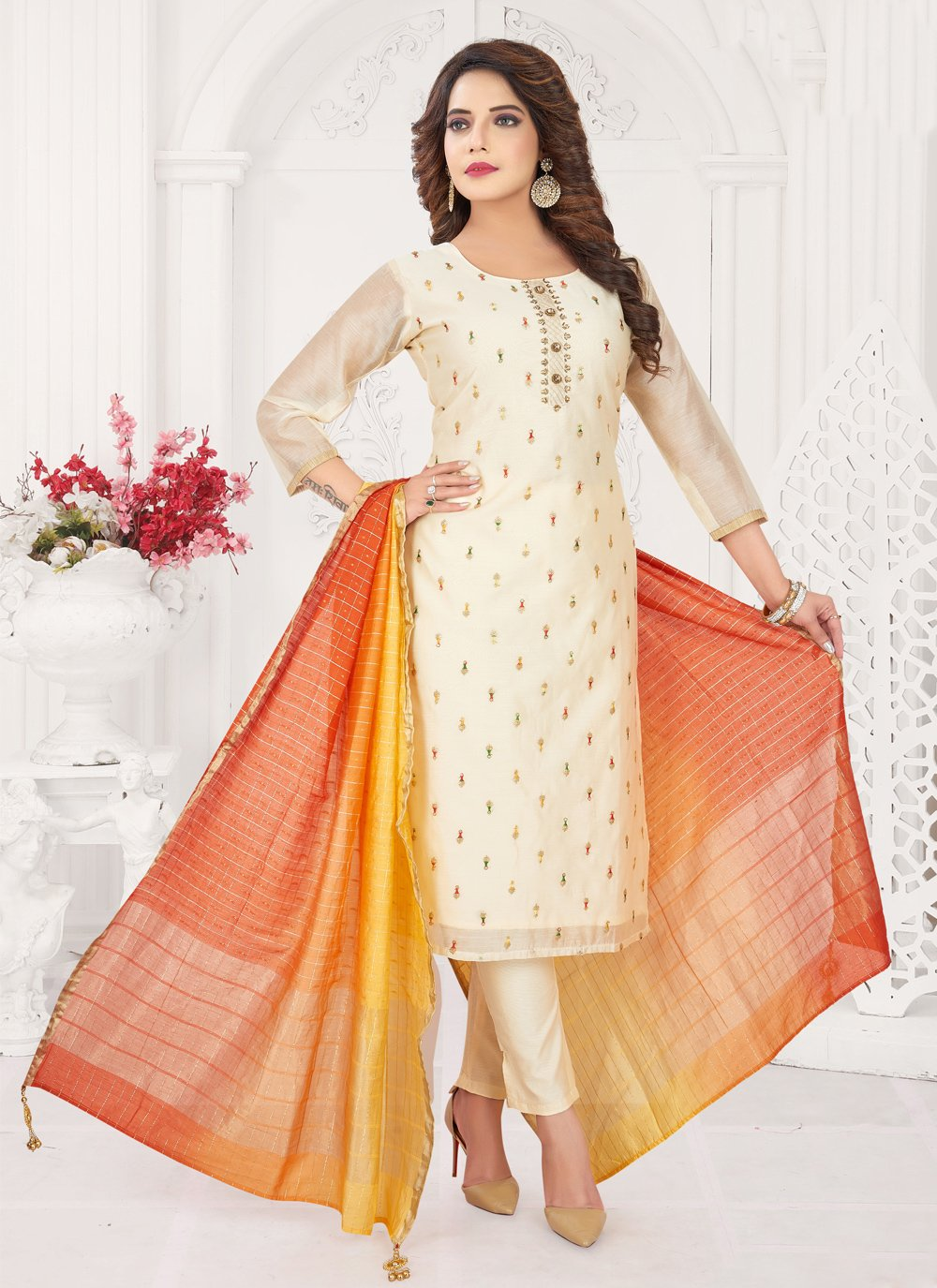 Off White Festival Art Silk Trendy Salwar Kameez