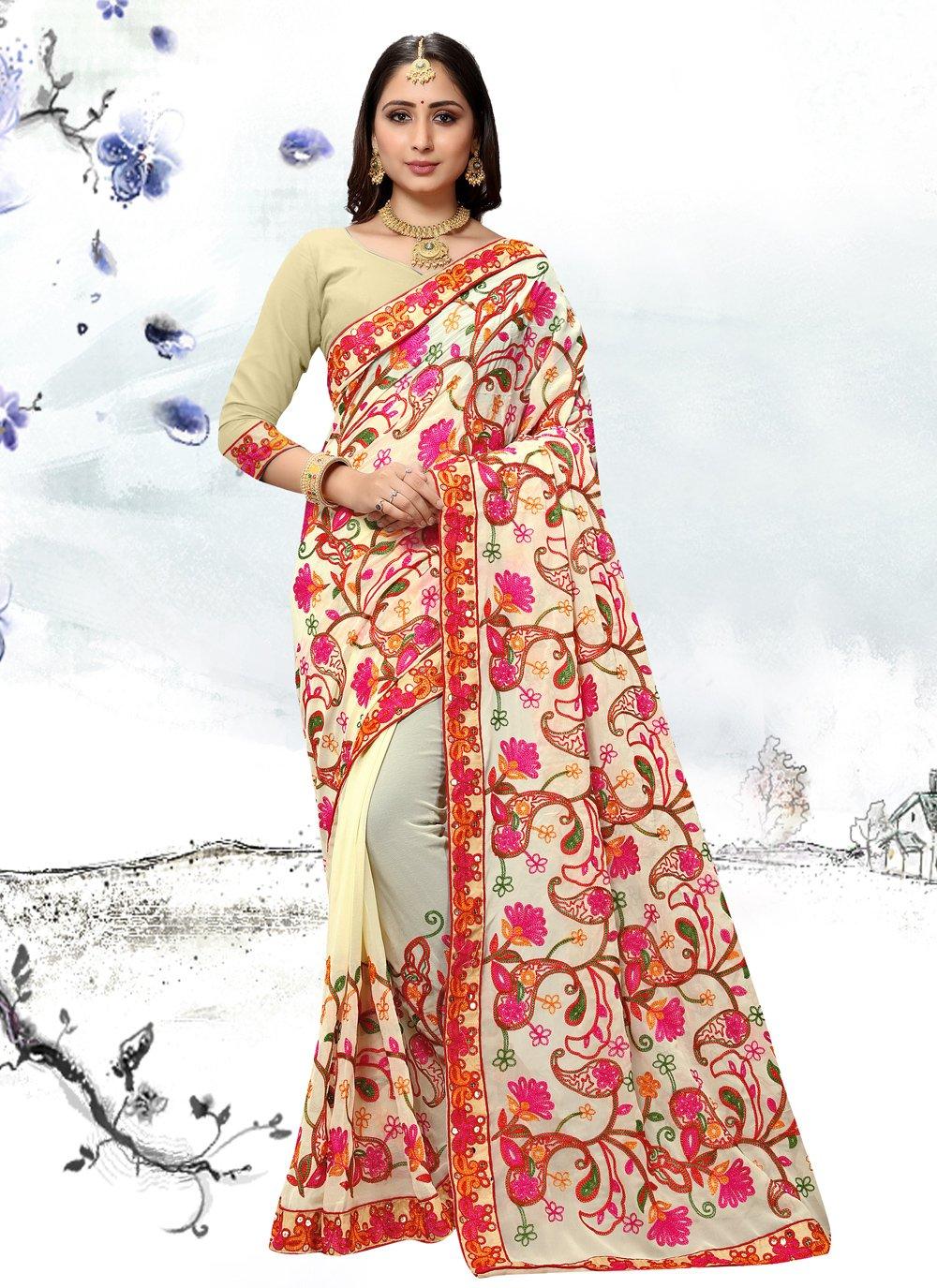 Off White Festival Classic Designer Saree