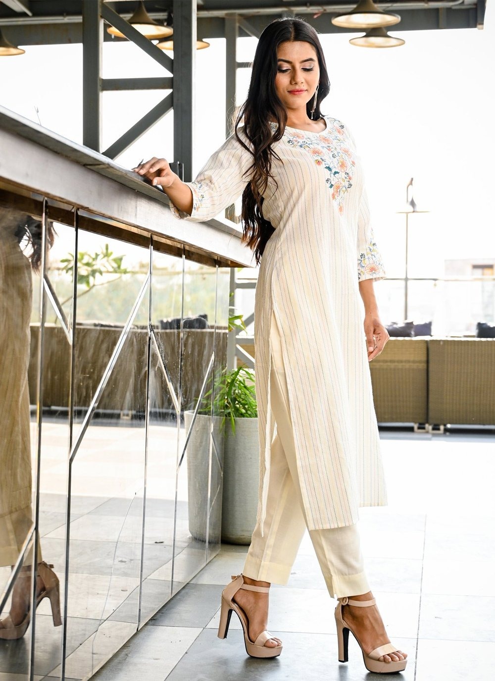 Off White Festival Party Wear Kurti