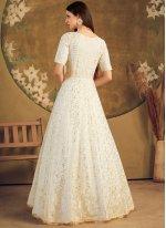Off White Foil Print Designer Gown