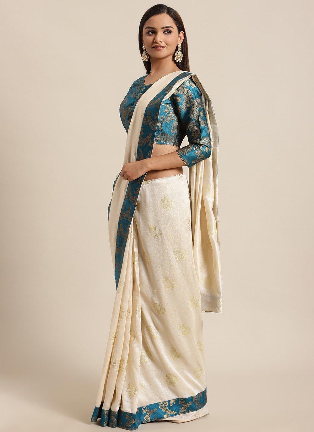 Off White Foil Print Silk Traditional Saree