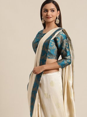 Off White Foil Print Silk Traditional Saree