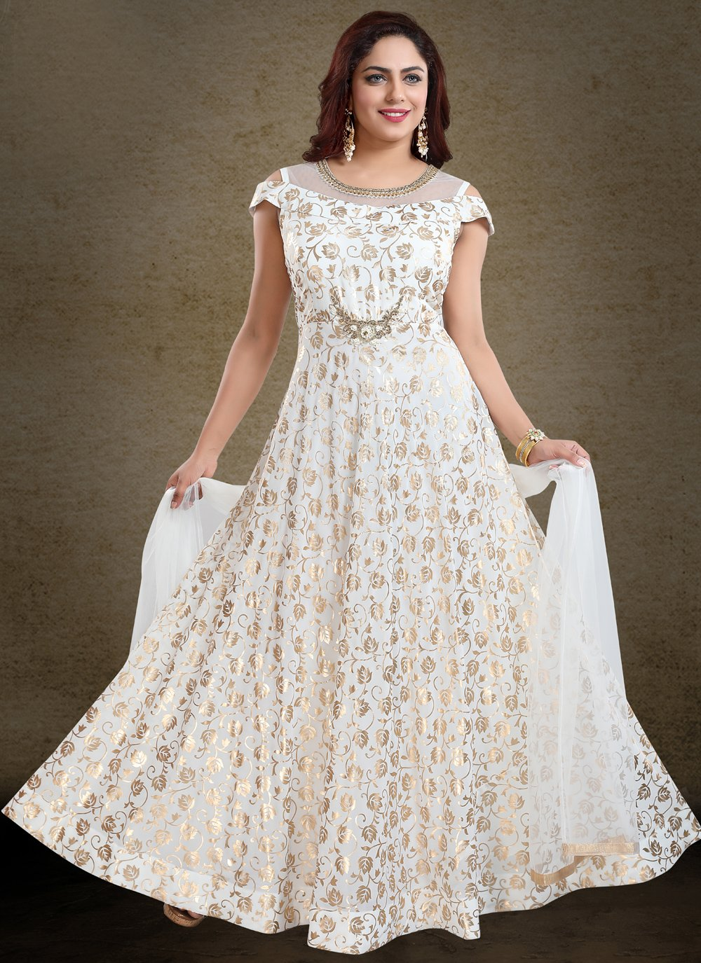 Off White Handwork Readymade Gown