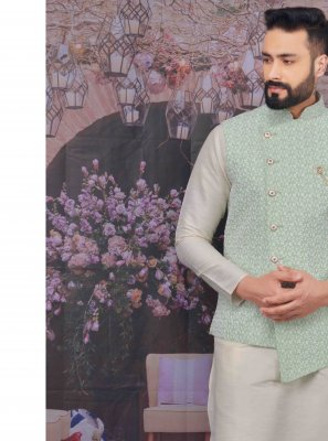 Off White Mehndi Art Banarasi Silk Kurta Payjama With Jacket