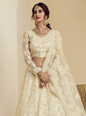 Off White Mehndi Net Lehenga Choli