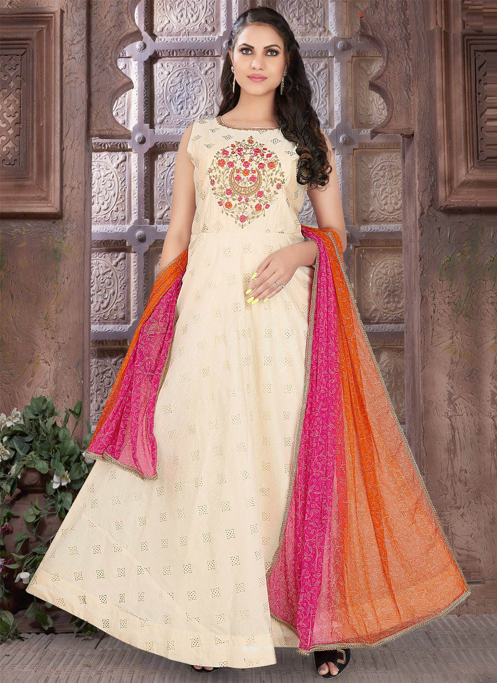 Off White Mehndi Readymade Suit