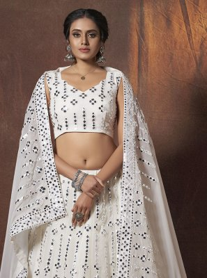 Off White Mirror Sangeet Lehenga Choli