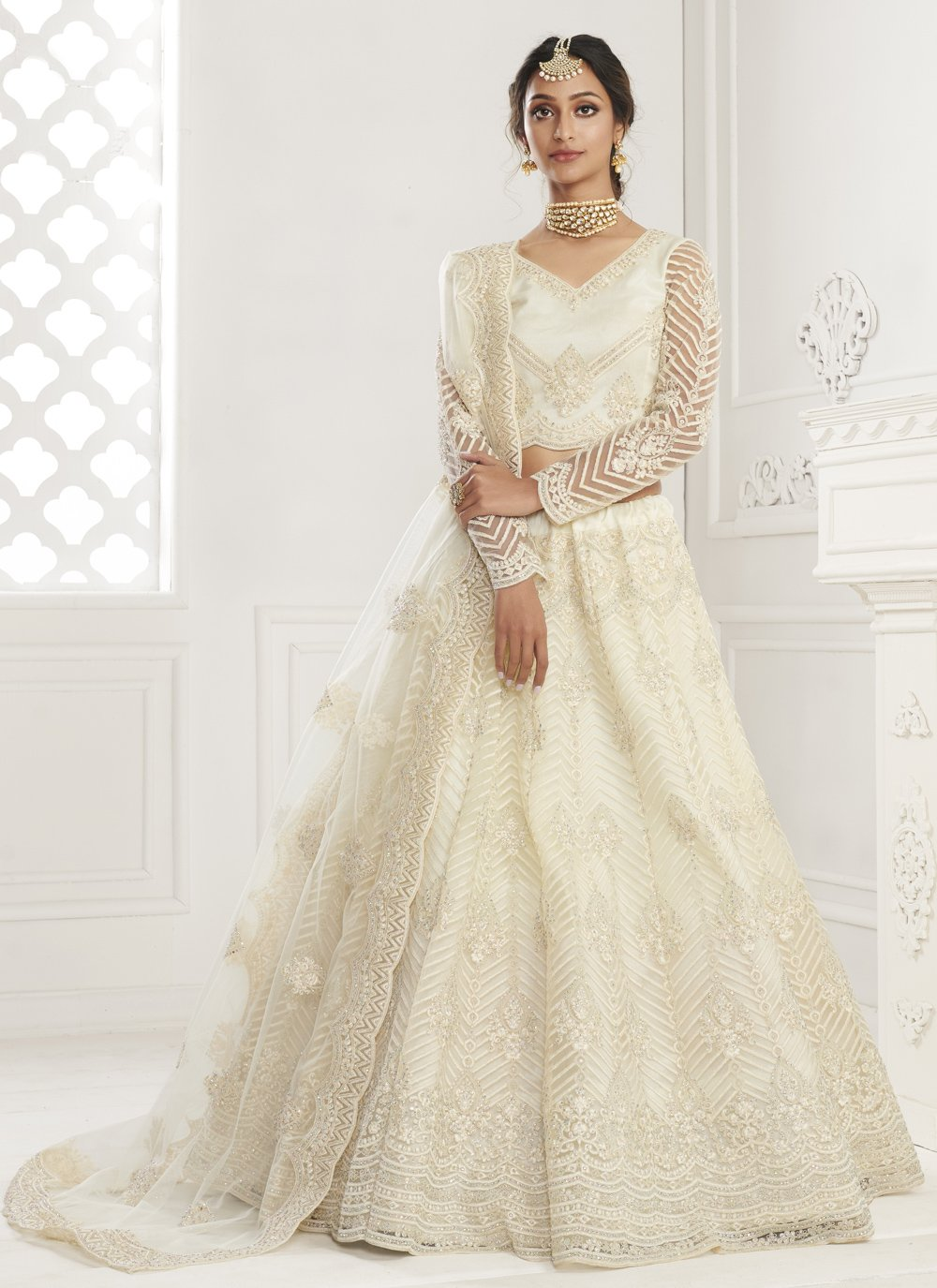 Off White Net Engagement Lehenga Choli