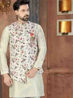 Off White Party Art Dupion Silk Kurta Pyjama