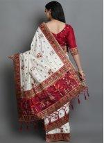 Off White Patola Print Silk Traditional Designer Saree