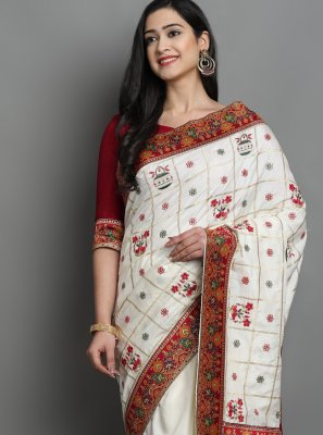 Off White Patola Print Silk Traditional Designer Saree
