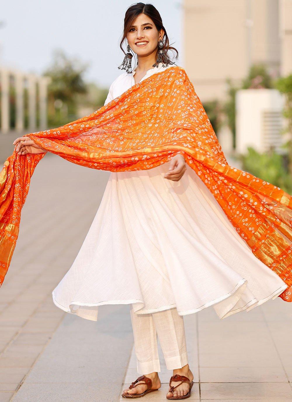 Off White Print Cotton Designer Suit