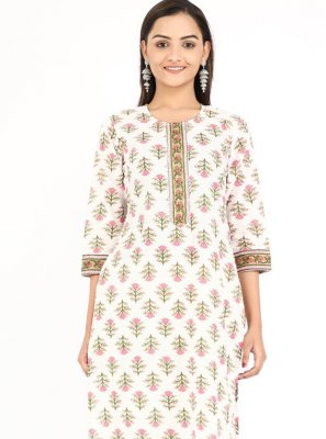 Off White Printed Cotton Party Wear Kurti