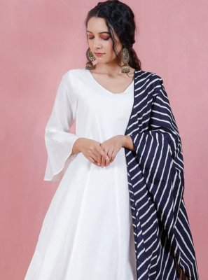 Off White Printed Rayon Anarkali Suit