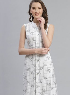 Off White Rayon Festival Party Wear Kurti