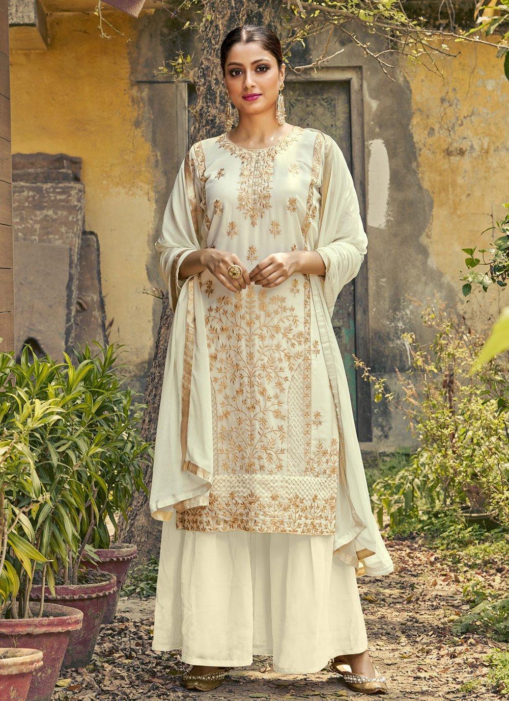 Off White Resham Designer Palazzo Suit