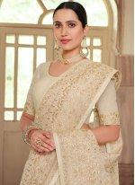 Off White Resham Trendy Saree