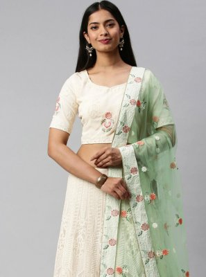 Off White Sangeet Faux Georgette Lehenga Choli