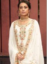 Off White Sangeet Jacquard Silk Designer Palazzo Salwar Suit