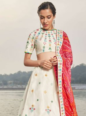 Off White Sangeet Satin Silk Lehenga Choli
