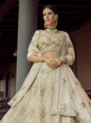 Off White Sequins Faux Georgette Lehenga Choli