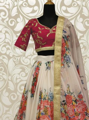 Off White Sequins Lehenga Choli